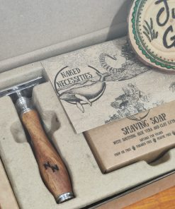 Plastic free safety razor shaving kit: razor in the box at Just Gaia, Halifax UK