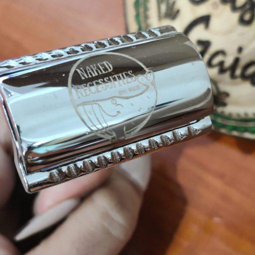 Plastic free safety razor shaving kit items in the box at Just Gaia, Halifax UK