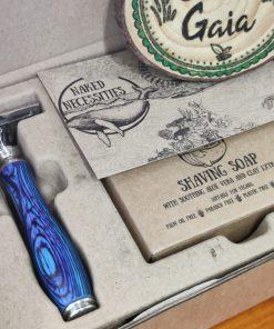 Plastic free safety razor shaving kit: razor in the box at Just Gaia, Halifax UK