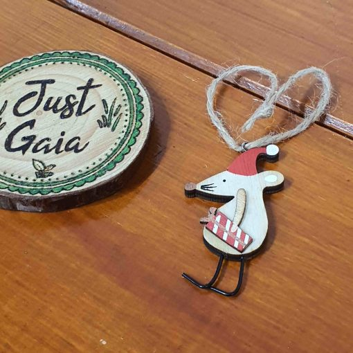Crimbo Hanging Mouse Christmas Decoration selection of pose 3 in Just Gaia