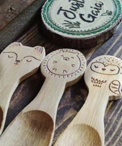 Bamboo children's spoon collection on display in Just Gaia Halifax.