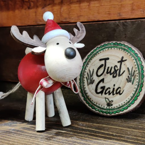 Rudi - wooden reindeer Christmas decoration looking cute in Just Gaia Halifax