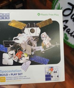 Plastic Free Space Station Playset in the Just Gaia Children's toys range at Just Gaia. Front view of the box.