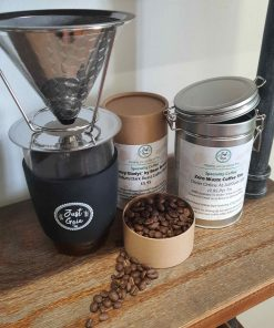 Speciality coffee at Just Gaia in Tubes, Tins and zero waste coffee refills.