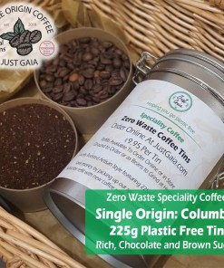 Single Origin Columbian Speciality Coffee tin beans and ground options at Just Gaia