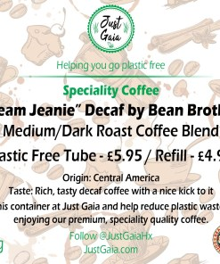 Dream Jeanie Decaf Speciality Coffee Tube label beans and ground at Just Gaia Halifax