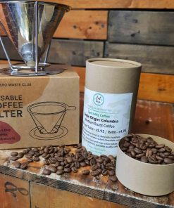 Reusable coffee filter gift set single coffee set on display at Just Gaia for a zero waste father's day