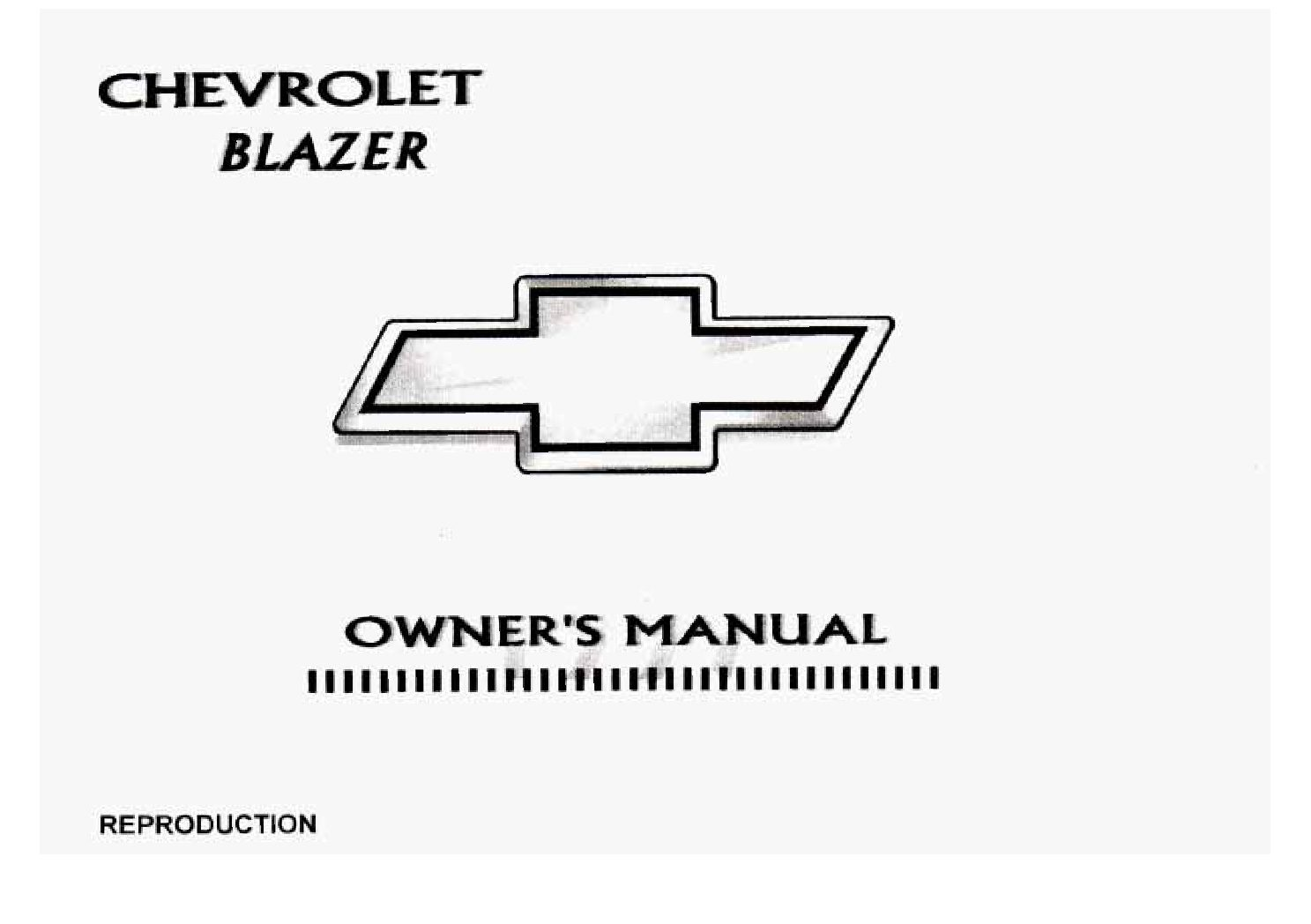 97 Chevy Blazer Owners Manual