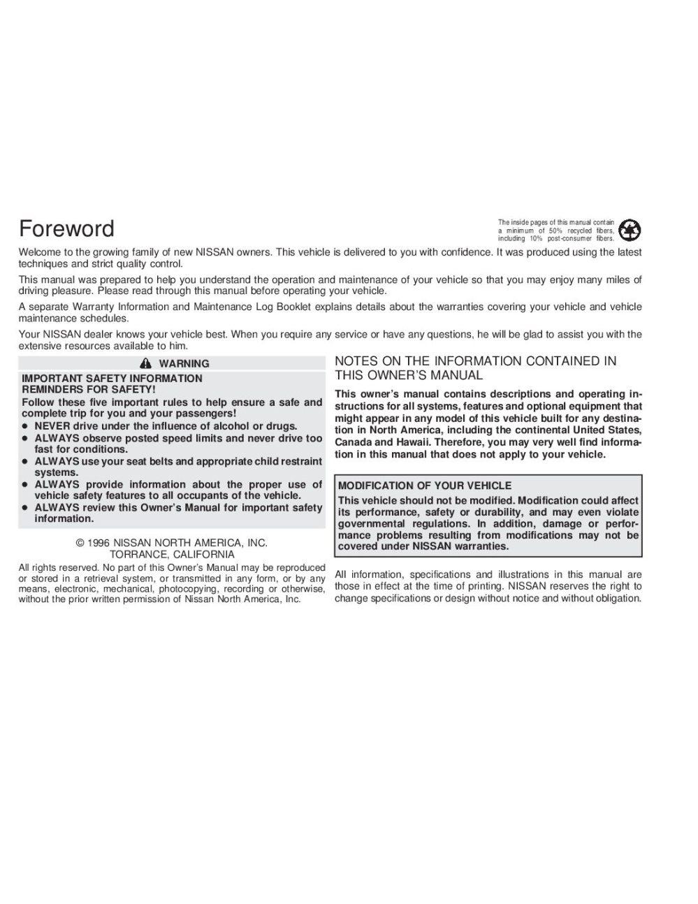 medium resolution of 1997 nissan altima owner s manual