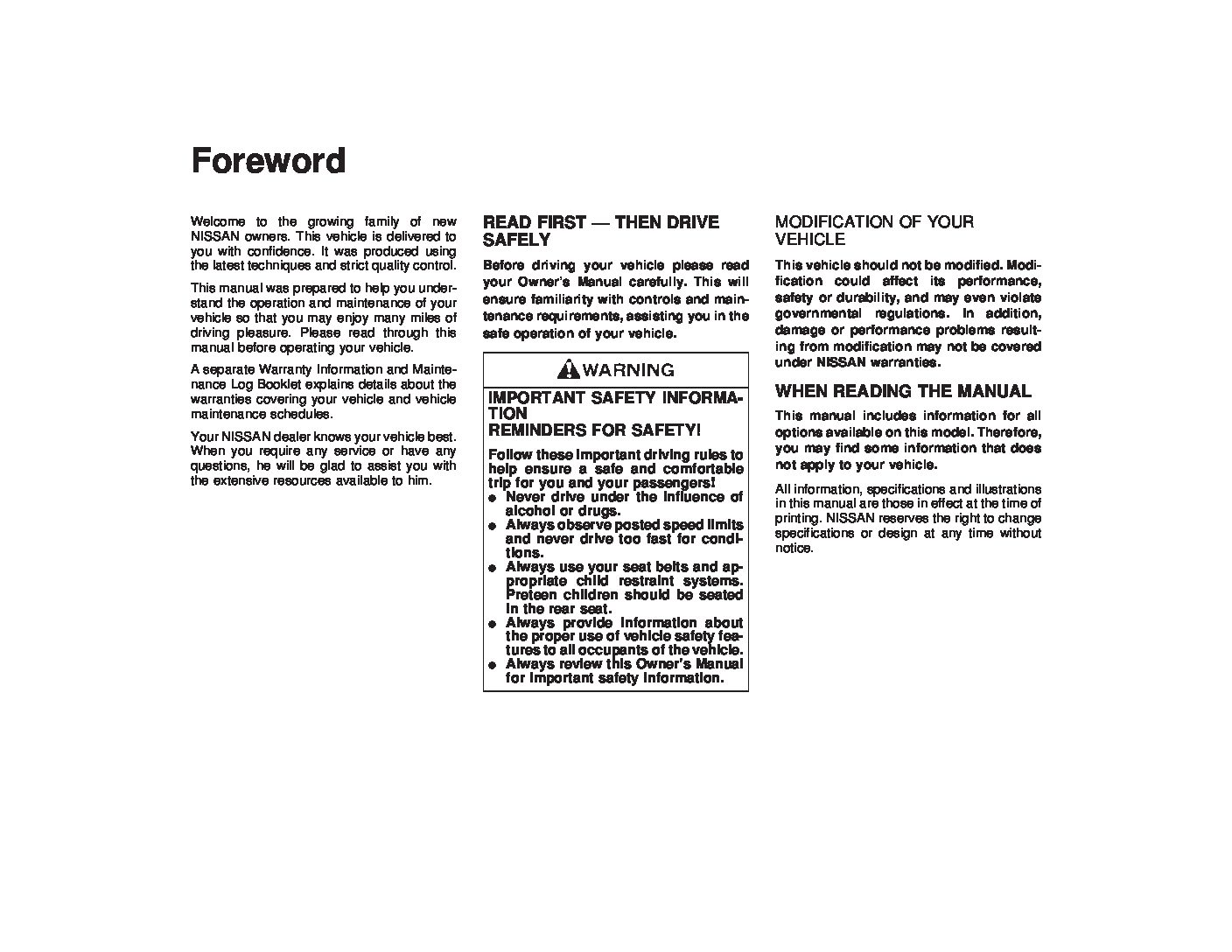hight resolution of 1998 nissan maxima owner s manual