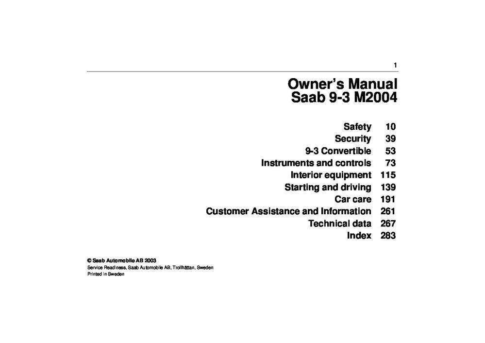 medium resolution of 2004 saab 9 3 owner s manual