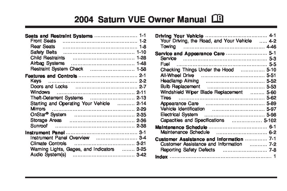 Fuse Diagram For 2000 Chevy S10 2004 Saturn Vue Owners Manual Just Give Me The Damn Manual