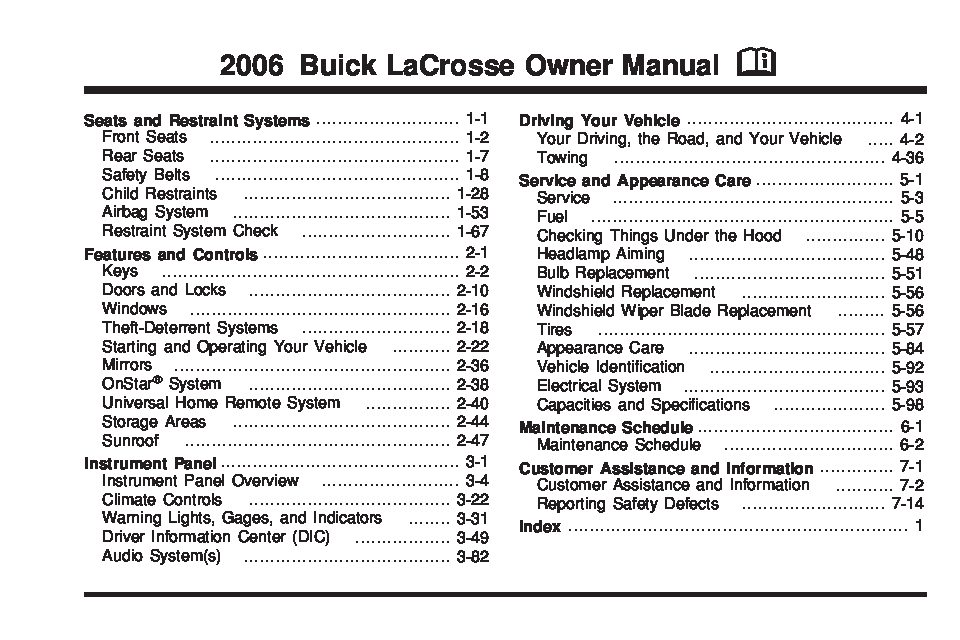 Taurus Fuse Panel Diagram 2006 Buick Lacrosse Owners Manual Just Give Me The Damn