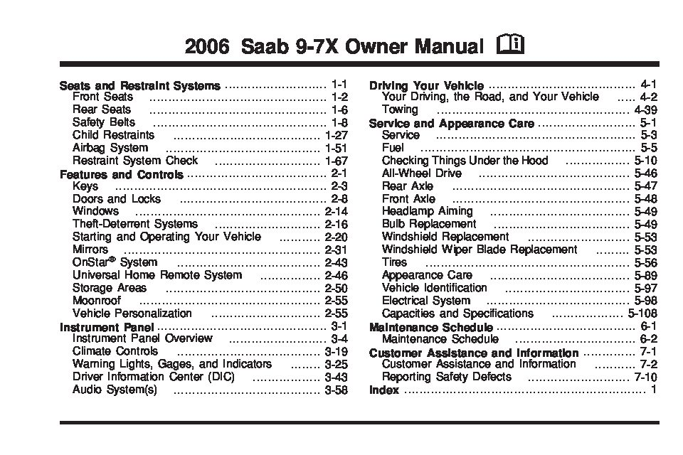 2006 Chevrolet Silverado 1500 Fuse Pannel Diagram 2006 Saab 9 7x Owners Manual Just Give Me The Damn Manual