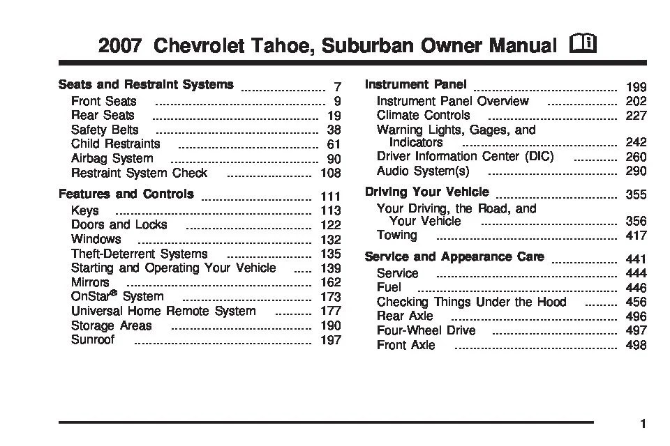 2007 Chevy Tahoe Repair Guides