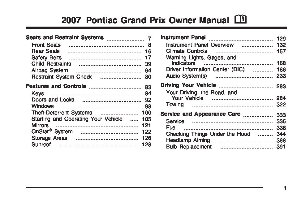 2004 Chevy Cavalier Engine Diagram 2007 Pontiac Grand Prix Owners Manual Just Give Me The