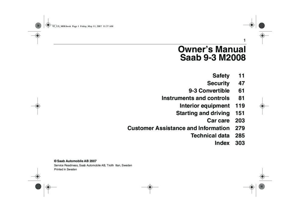 medium resolution of 2008 saab 9 3 owner s manual