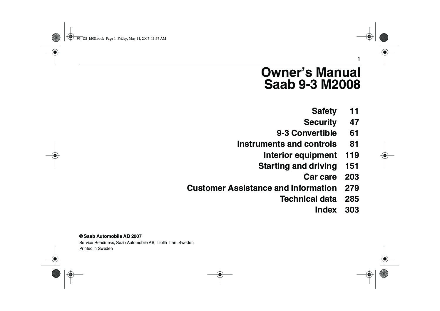 hight resolution of 2008 saab 9 3 owner s manual