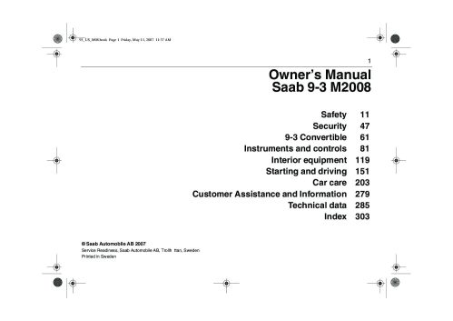 small resolution of 2008 saab 9 3 owner s manual