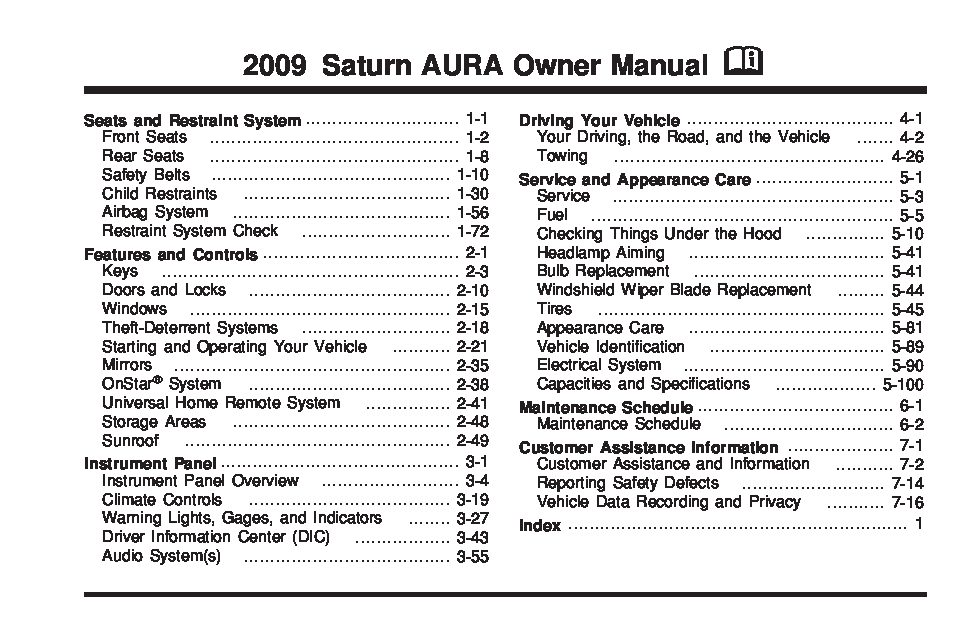2006 Buick Rendezvous Fuse Box Diagram 2009 Saturn Aura Owners Manual Just Give Me The Damn Manual