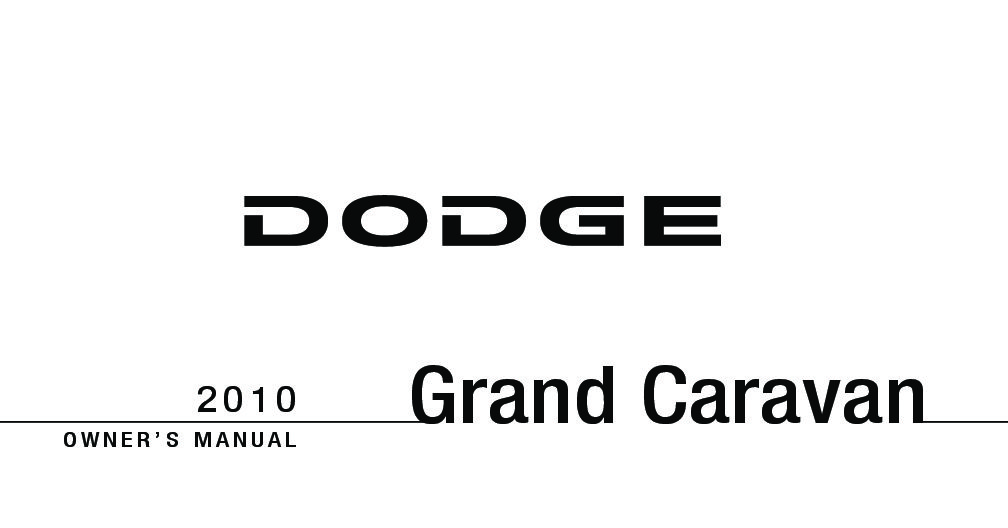 2010 DODGE CARAVAN OWNER MANUAL PDF