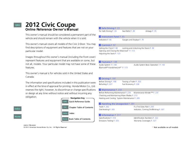 2012 honda civic owners manual