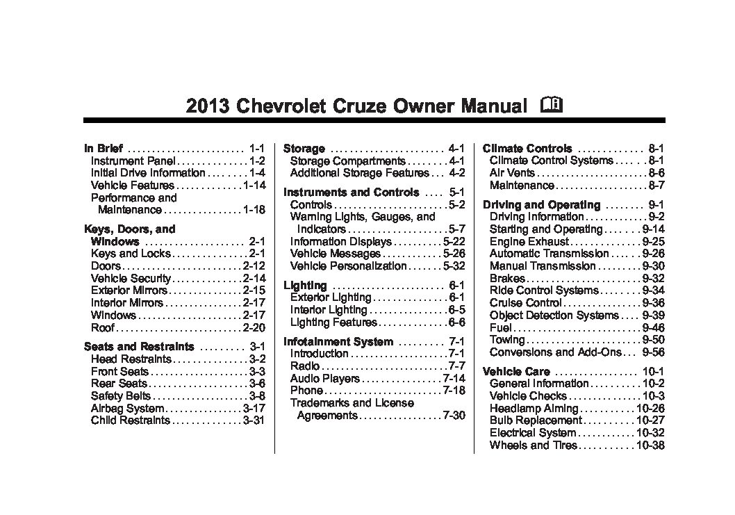 Malibu Wiring Diagram 2013 Chevrolet Cruze Owners Manual Just Give Me The Damn