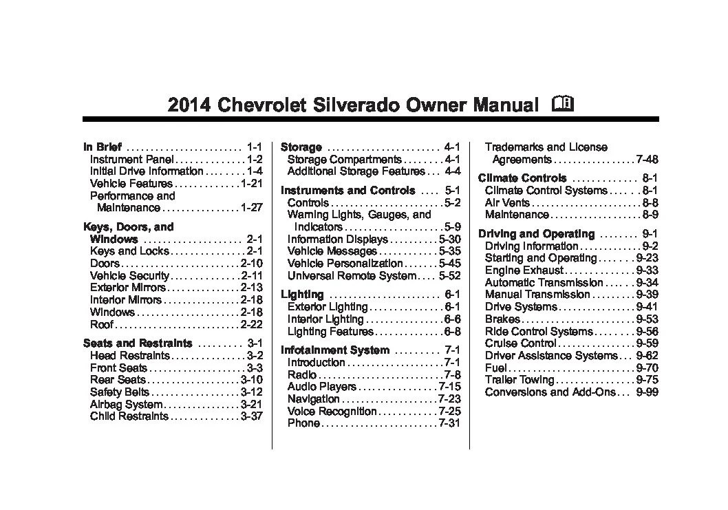 2011 Chevy Traverse Fuse Diagram 2014 Chevrolet Silverado Owners Manual Just Give Me The