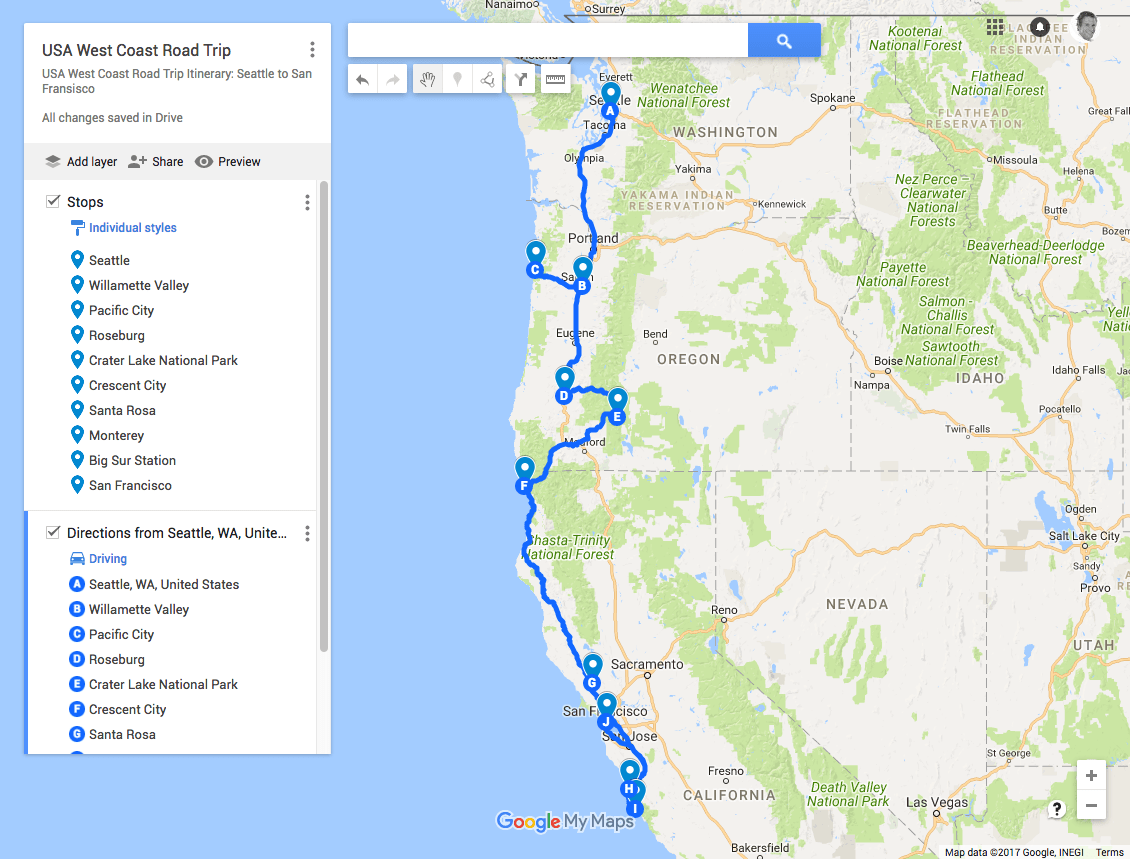 Usa West Coast Road Trip Itinerary Seattle To San