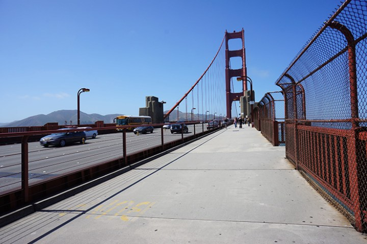 Op de Golden Gate bridge