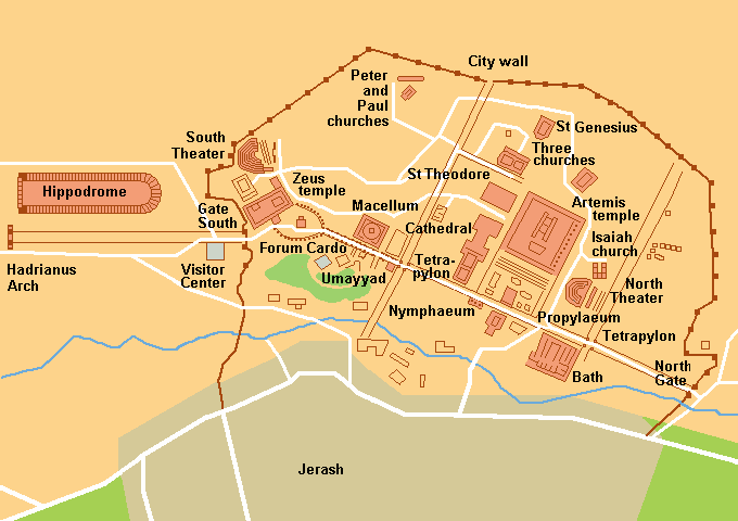 Plattegrond van Jerash in Jordanië