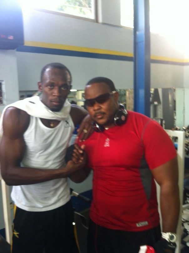Hubby with Usain Bolt, the greatest athlete ever! Now if his gym ethic could just rub off on Bucka!