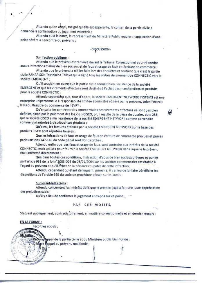 L'arrêt rendu par RANDRIARIMALALA Herinavalona de la Cour d'appel a dénaturé un écrit clair et a violé l'article 2 de la loi sur la concurrence à Madagascar