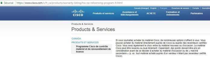 Sur le site web de la société CISCO c'est écrit que le matériel CISCO peut être revendu librement