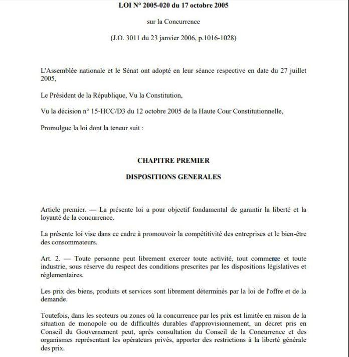 Avec un arrêt violant l'article 2 du code de la concurrence à Madagascar de la Cour d'appel d'Antananarivo du 13 mai 2016, présidé par RANDRIARIMALALA Herinavalona