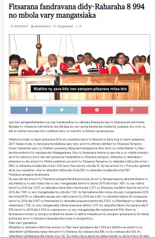 Au 31 décembre 2016, à la cour de cassation malgache, on commence à traiter les dossiers de 2013 et 8994 affaires sont en attente de traitement