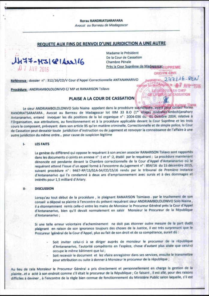 On attend toujours l'avis de la cour de cassation sur cette demande de dessaisissement pour suspicion légitime déposé le 6 avril 2016