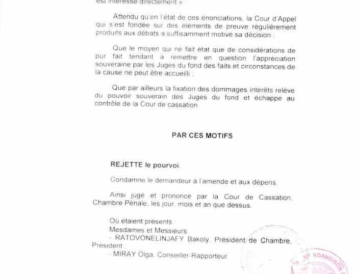 Avec un arrêt de la cour de cassation malgache qui accepte qu'un simple associé peut être bénéficiaire des intérêts civils en violation de lois malgaches