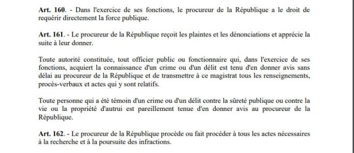 Le Procureur général fait de suite un Soit Transmis à la police au lieu de transmettre la plainte au Procureur de la République