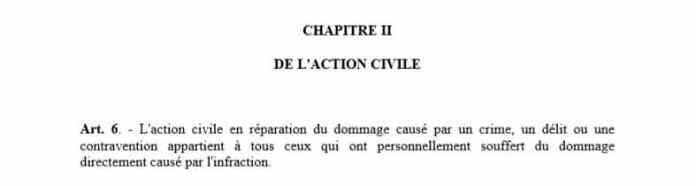Article 6 du code de procédure pénale malgache sur l'action civile en réparation du dommage causé par un délit