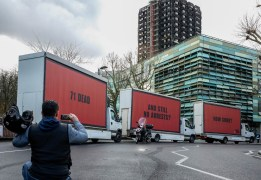 Jeff Moore THIS PICTURE IS FREE TO USE THREE BILLBOARDS OUTSIDE GRENFELL TOWER, LONDON London, 15th February 2018: Community-led organisation, Justice4Grenfell, today paraded three billboards through central London on the way to Grenfell Tower where they parked outside The Wall of Truth, to highlight the lack of progress being made in the wake of the Grenfell Tower tragedy. Marking 8 months since the tragic event, the highly visible stunt recreates a scene from the film 'Three Billboards Outside Ebbing, Missouri', following its success at the Golden Globes and multiple nominations for this weekend's BAFTAs. The billboards read '71 Dead', 'Still No Arrests', 'How Come?' For further information, or to arrange an interview with a Justice4Grenfell spokesperson, please contact Paul McEntee on paul@mcandt.co.uk or 07791 156326; or Matt Crowhurst on matt@mcandt.co.uk or 07971 301874.