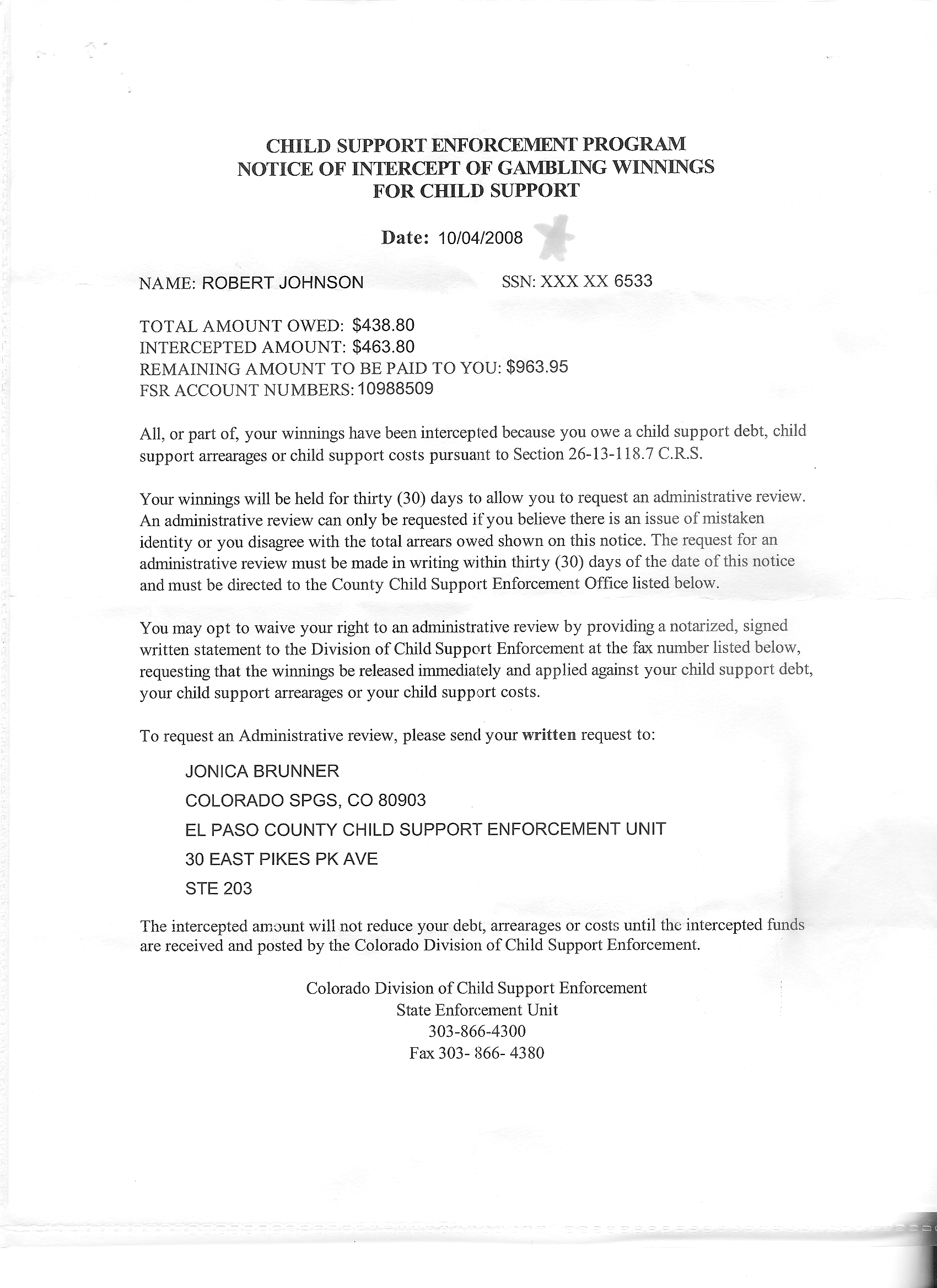 notarized letter for child support