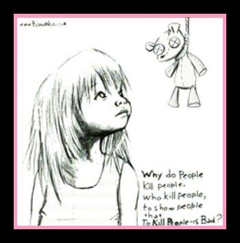 Image titled 'Girl' found in forensics search on Anthony computer. Image includes sketch of girl that looks almosts similar to Caylee Anthony and has a haunting statement asking 'why do people kill people who kill people to show that killing people is bad'?