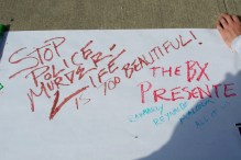 This year we created a banner to drop in front of the doors of the precinct. Annual Anti-Police Brutality March in Long Island, NY, Bay Shore, April 13th, 2013.