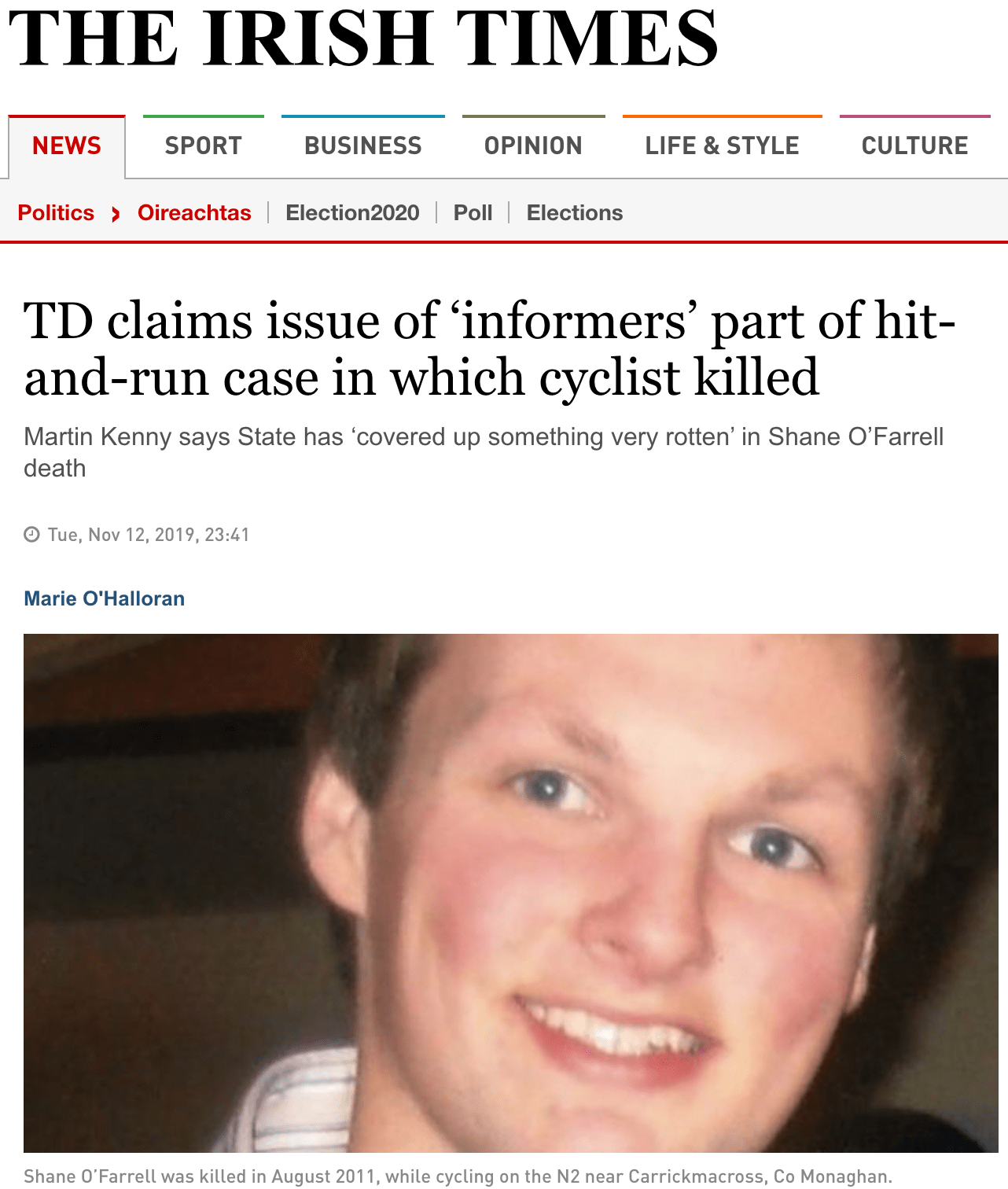 12.11.19 – TD claims issue of 'informers' part of hit-and-run case in which cyclist killed – The Irish Times