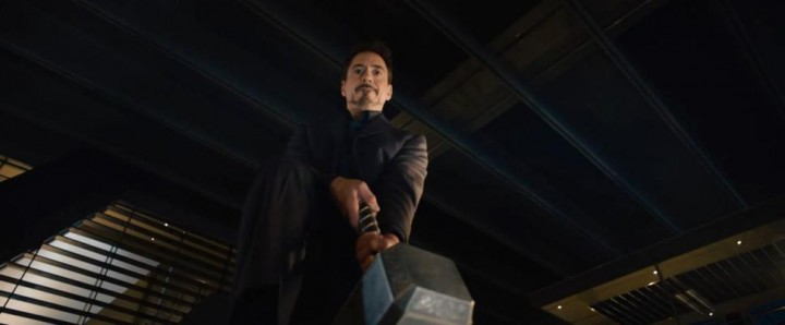 Tony Stark attempts to lift Mjolnir