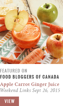 Apple Carrot Lemon Ginger Juice   Food Bloggers of Canada Weekend Links for September 26, 2015 Recipe Feature // JustineCelina.com