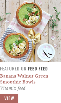 JustineCelina Pantone Inspired Banana Walnut Green Smoothie Bowls featured in FeedFeed's Vitamix Feed // JustineCelina.com