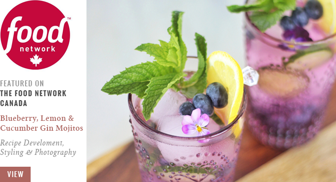 Blueberry, Lemon and Cucumber Gin Mojitos | Featured on The Food Network Canada // JustineCelina.com