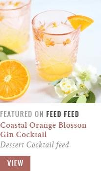 Coastal Orange Blossom Gin Cocktails Featured on FeedFeed Dessert Cocktails Feed // JustineCelina.com